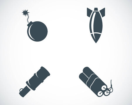 vector bomb: Vector black bomb icons set on white background