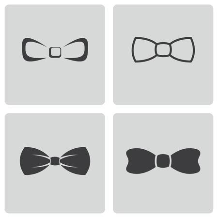 Vecteur arc noir cravates ensemble d'icônes sur fond blanc
