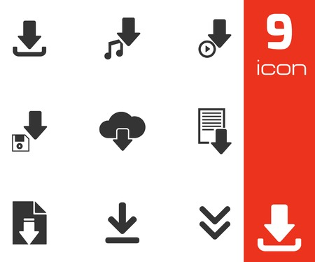 inbox: Vector black download icons set white background
