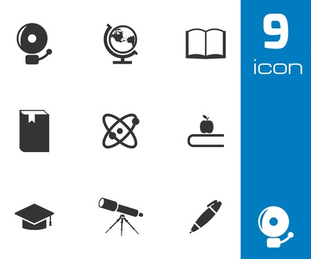 Vector black education icons set on white background Vector