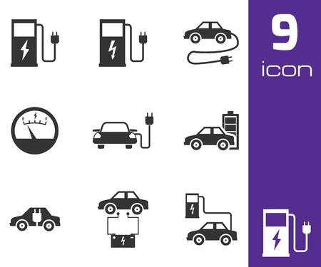 Vector iconos de coche eléctrico fondo negro conjunto blanco Ilustración de vector