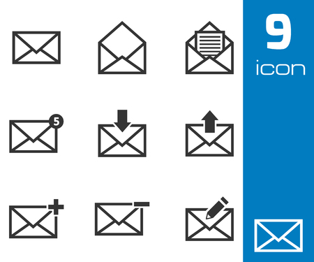 Vector black email icons set white background Vector