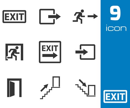 Vector black exit icons set on white background Vector