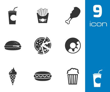 Vector black fast food icons set on white background Vector