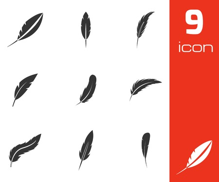 feather pen: Vector black feather icons set on white background