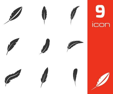 Vector plume noire ensemble d'icônes sur fond blanc Vecteurs