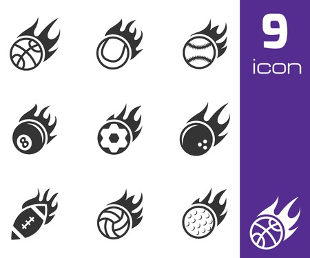 Vector black fire sport balls icons set on white background Vector