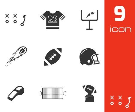 nfl: Vector black football icons set on white background