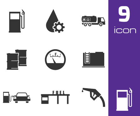 Vector black gas station icons set white background