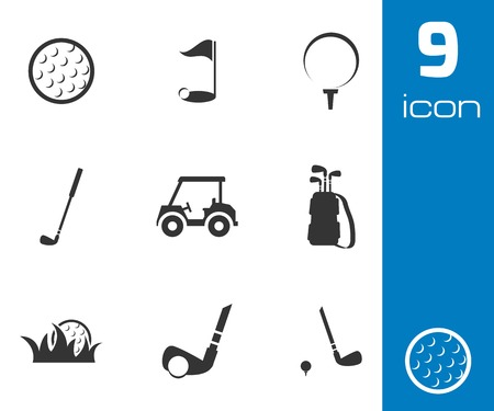 golf clubs: Vector black golf icons set on white background