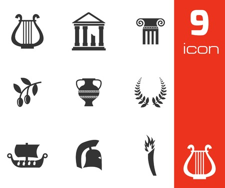 greece flag: Vector black greece icons set on white background Illustration