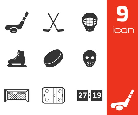 hockey goal: Vector black hockey icons set on white background