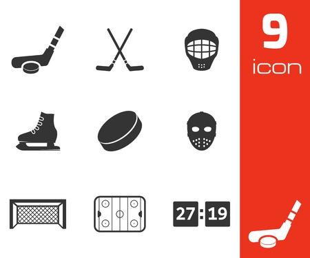 hockey skates: Vector black hockey icons set on white background