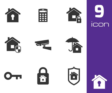 guard house: Vector black home security icons set white background