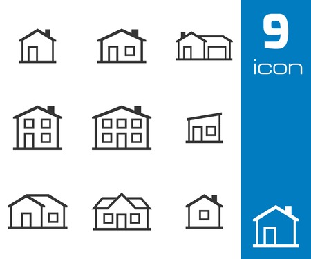 building a website: Vector black houses icons set white background