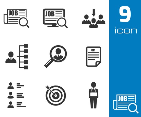 Vector black job search icons set on white background Vector