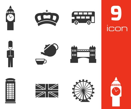Vector black london icons set on white background Vector