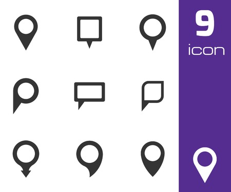 3d pointer: Vector black map pointer icons set on white background