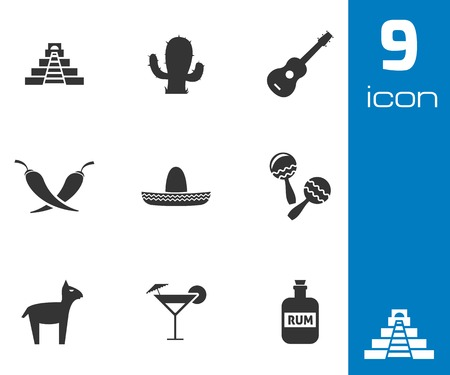fiesta: Vector black mexico icons set on white background