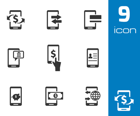 cell phone icon: Vector black mobile banking icons set white background