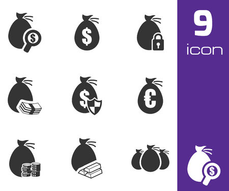 Vector black money icons set white background Vector