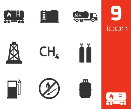 natural gas: Vector black natural gas icons set on white background Illustration