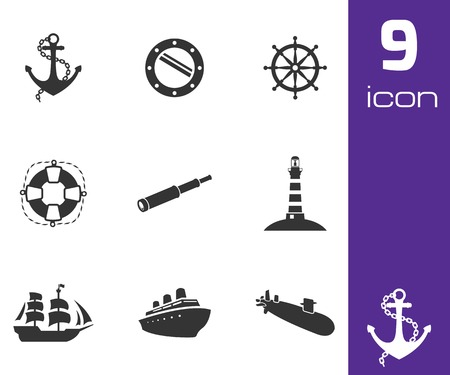 Vector black nautical icons set on white background Vector