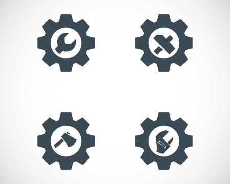 herramientas de mecánica: Vector herramientas negros en los iconos de cambio establecidos en el fondo blanco Vectores