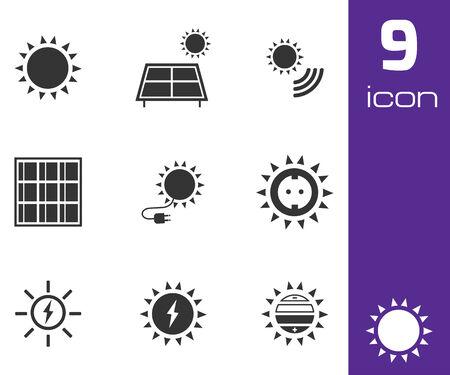 photovoltaic panel: Vector black solar energy icons set white background