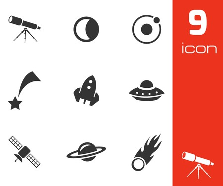 saturn: Vector black space icons set on white background
