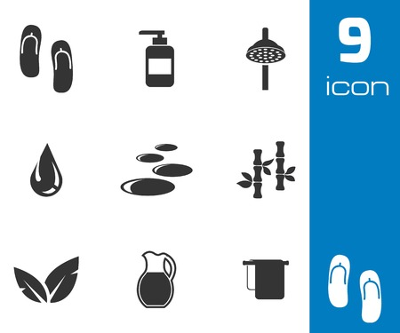 Vector black spa icons set on white background Vector