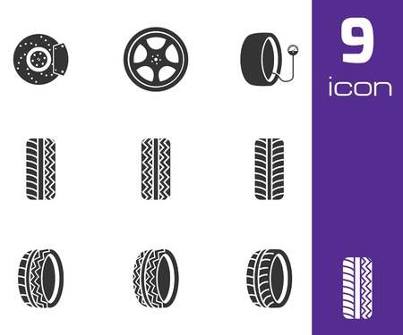 low tire: Vector black tire icons set on white background Illustration