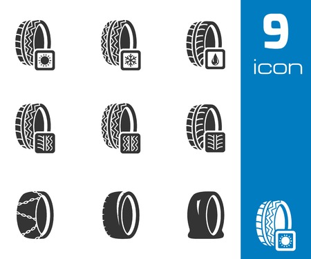 low tire: Vector black tire icon set on white background
