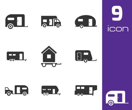 rv: Vector black trailer icons set white background Illustration