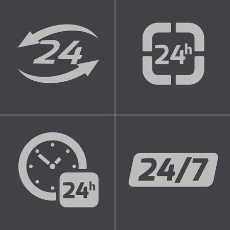 24 hours: black 24 hours icons set on gray background