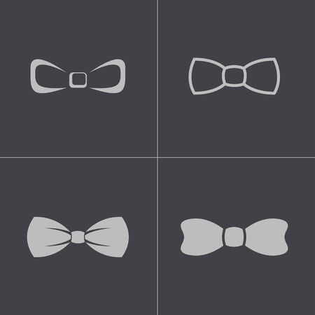 black bow ties icons set on gray background Vector