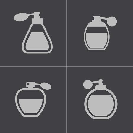 perfume: black perfume icons set on white background Illustration