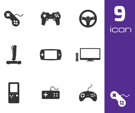 black video game icons set white background Vector