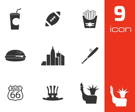 black USA icons set on white  Vector