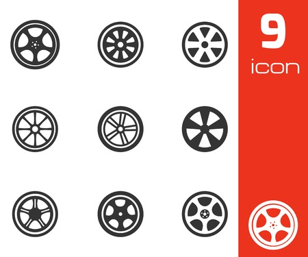 alloy wheel:  black wheel disks icons set on white background Illustration