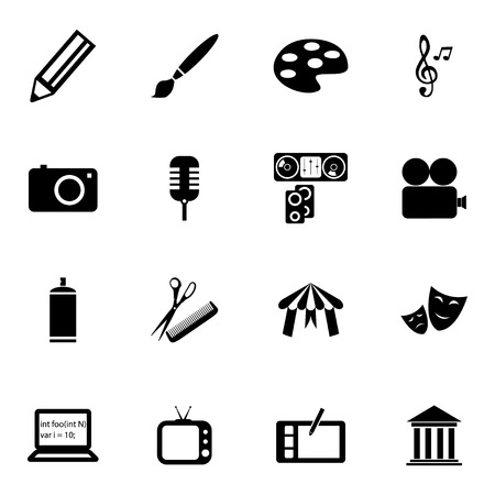 Vector black art icons set on white background Vector