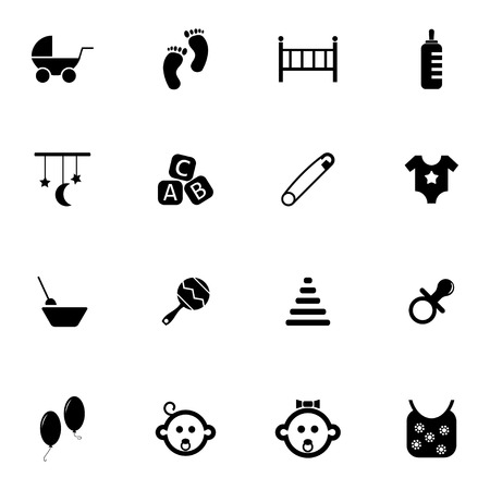 Vector black baby icons set on white background Vector