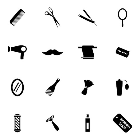 hairstylist: Vector black hair and  icons set on white background