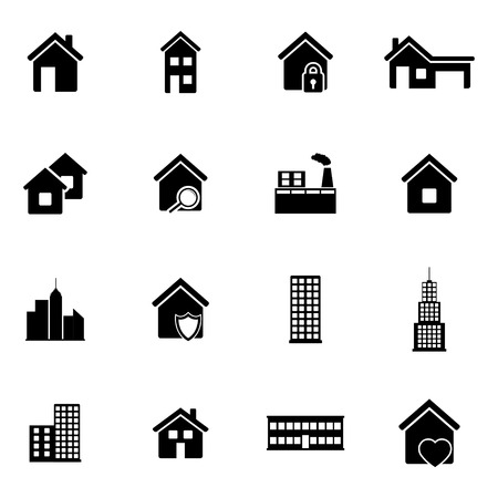 architecture pictogram: Vector black building icons set on white background