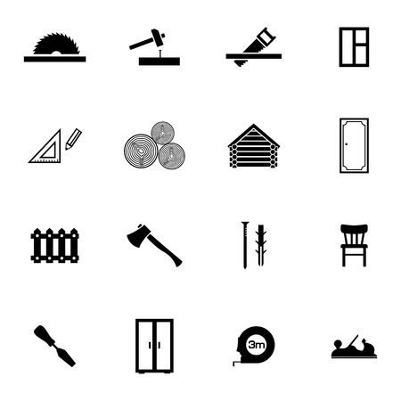 Vector black  carpentry icons set on white background Vector