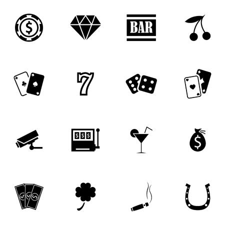 Vector negro iconos de casino situado en el fondo blanco Foto de archivo - 27352712