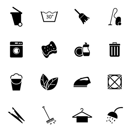 cleaning products: Vector black  cleaning icons set on white background