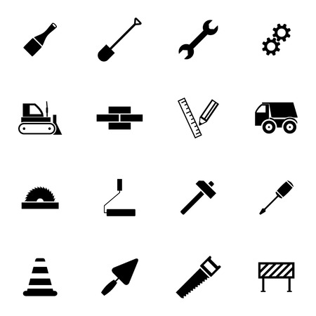 power shovel: Vector black  construction icons set on white background
