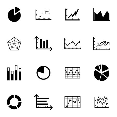 Vector black  diagram icons set on white background Vector