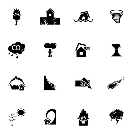 hazard damage: Vector black  disaster icons set on white background Illustration